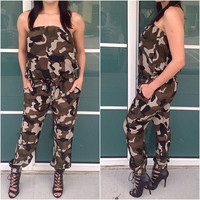 Rompers Womens Jumpsuit Women Sexy Strapless Green Camouflage Print Elegant Jumpsuit Women Sexy One Piece Outfits