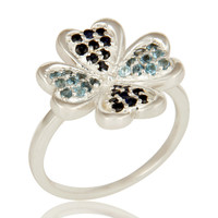 925 Sterling Silver Blue Topaz And Blue Sapphire Gemstone Flower Cocktail Ring