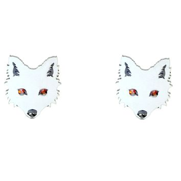 Wolf Head Earrings in White with Red Crystal Eyes