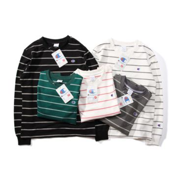 Champion Striped Long-Sleeved Round Neck Sweater
