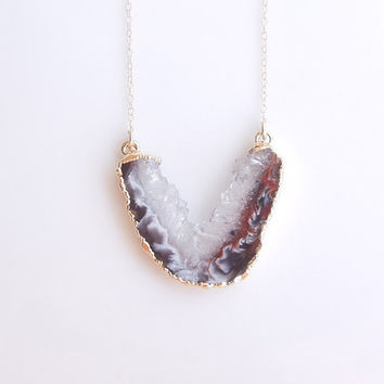 Geode Slice Necklace in Gold - One of a Kind Jewelry - U Shape