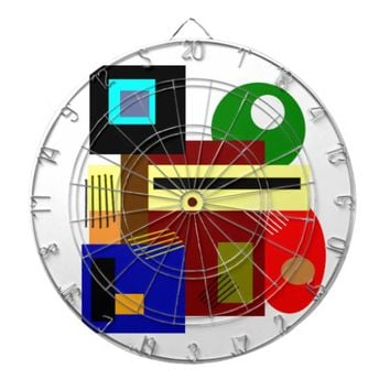 Abstract Shapes and Colors Modern Art Dartboard With Darts
