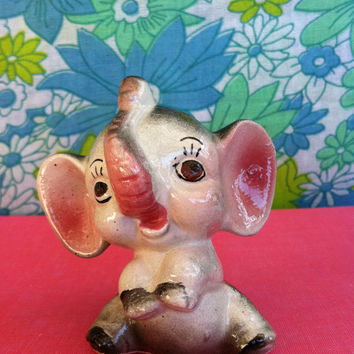 Vintage elephant figurine!! Cute, kitsch, retro china elephant ornament! Eleanor is very pleased to meet you!