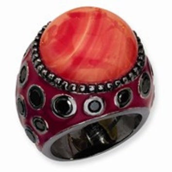 Black-plated Sterling Silver Enameled Simulated Red Coral & CZ Ring