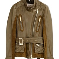 Burberry Brit Khaki Leather Jacket - Khaki Leather Jacket