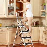4 Step Big Step Folding Step Stool with Rubber Safety Hand Grip