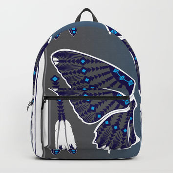 Butterfly Nation Blue Backpack by MelvinWarEagle