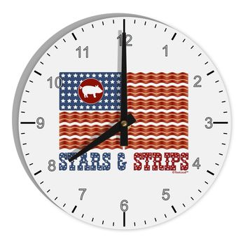 "American Bacon Flag - Stars and Strips 8"" Round Wall Clock with Numbers"