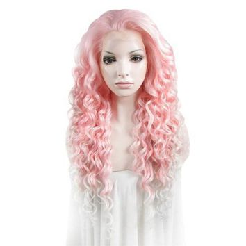 "26"" Curly Pink to White Ombre Lace Front Synthetic Wig"