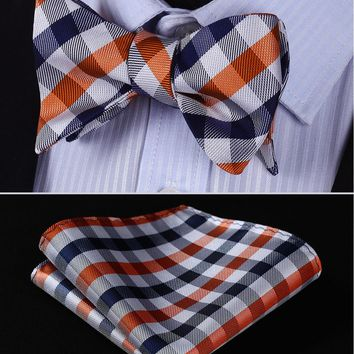BC3014V Navy Blue Orange Check 100%Silk Jacquard Men Butterfly Self Bow Tie BowTie Pocket Square Handkerchief Hanky Suit Set