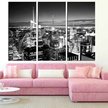 New York City Manhattan Skyline wall art, large manhattan canvas print, black and white wall art, manhattan canvas art print t292