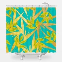 Gold and Teal Florals Shower Curtain