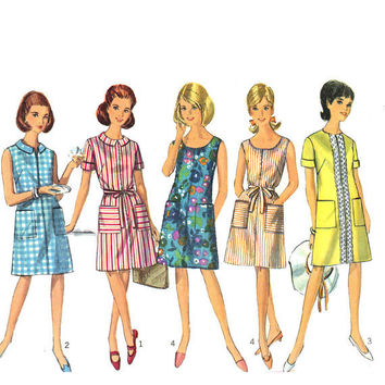 One piece mod shift dress sewing pattern Simplicity 7025 60s Bust 36