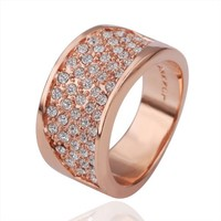18K Rose Gold Plated Crystal Pave Simple Band Ring