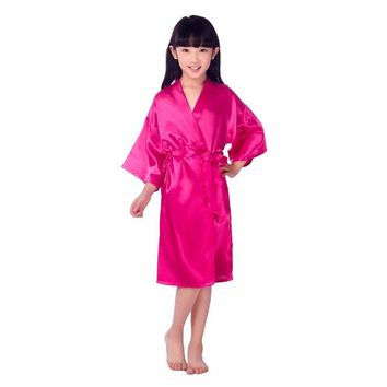 Centuryestar Baby Kids Girls Silk Satin Kimono Robes Summer Bathrobe Sleepwear Wedding Flower Girl Night Gown For 4-14 Years
