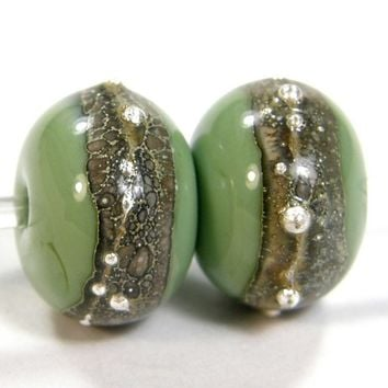 Handmade Glass Beads Heavy Silvered Ivory Band Fine Silver Lampworked