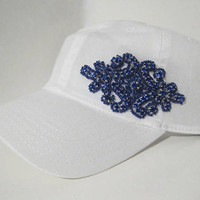 White Garment Washed Light Weight Trucker Baseball Cap with Gorgeous Royal Blue Beaded Victorian Accent Pony Tail Buckle Back Accessories