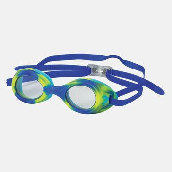 Leader - Stingray Ages 7+ Advanced Series Lime Green Blue Tie Dye Swim Goggles / Clear Lenses