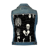 Glow in the Dark Bones Skeleton Pattern Skulls Custom Jean Vest