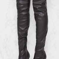 Black PU Pointed Thigh High Boot