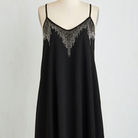 LBD Mid-length Spaghetti Straps Shift Sensational Shimmer Dress