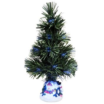 Evelots Mini Christmas Tree Fiber Optics Artificial With LED And Stand