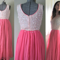 Shocking Pink Pearl Vintage 60s Sequin Goddess Dress - Bright Hot Pink Chiffon Shimmery White Mad Men Party Prom Dress Glam Summer Fashion