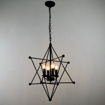 Black Vintage 8-Point Star Shape Hanging Ceiling Chandelier Max. 160W with 4 Lights Painted Finish