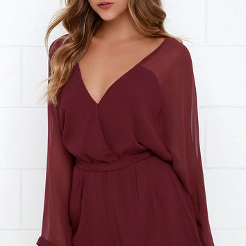 Sheer Your Secrets Wine Red Romper
