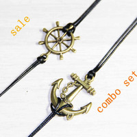 bronze rudder anchor bracelet anklet bangle combo set summer trending simple fashion friendship graduation gifts