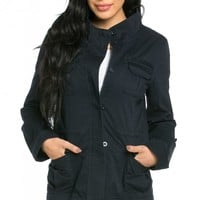Classic Dual Chest Pocket Utility Jacket in Navy