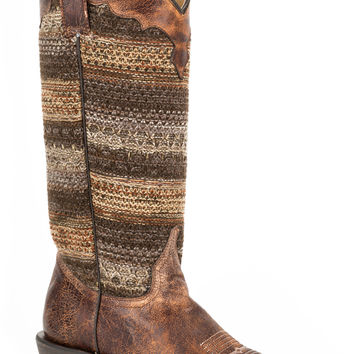 Roper Ladies Fashion Snip Toe Boots Vintage Brown Vamp Brown Textile Shaft