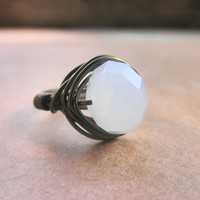Wire Wrapped Ring  Opal White   by gabeadz