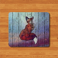 Vintage Fox Wooden Mouse Pad Mat Wood Pattern MousePad Desk Deco Vintage Gift Computer Pad Personalized Christmas Gift