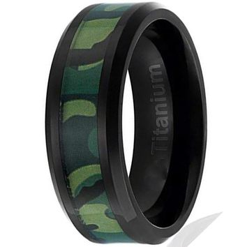 CERTIFIED 8MM Titanium Camo Ring Green Military Camouflage Inlay | Beveled Edges