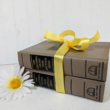 The Columbia Viking Desk Encyclopedia Set of 2 Books A-K & L-Z Matching Khaki Gray Books Gift Set Mid Century Books; Bibliophile Gift Idea