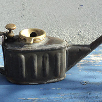 French Antique Oil Buret OIler Tin Can