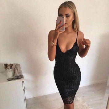 2016 autumn dress sexy sequin bodycon party dress straps sexy deep v neck gold sequined sling knee length women dress clubwear