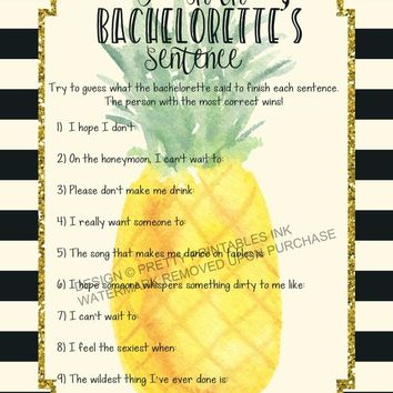 INSTANT DOWNLOAD printable bachelorette game / finish the sentence game / bachelorette party game / pineapple bachelorette / drinking game