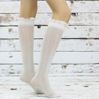 Soft Micro Fishnet Knee Highs Off-white lace socks sexy leg warmer girly boot socks boot cuffs women's accessory birthday gifts knee socks