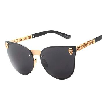 Skull Cat Eye Sunglasses Men Oversized Rimless For Women UV400
