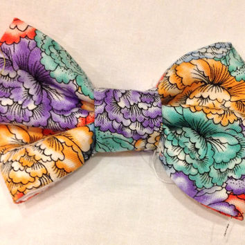 Floral Patterned Bow Tie - spring flowers hair bow - bold flower hair bow