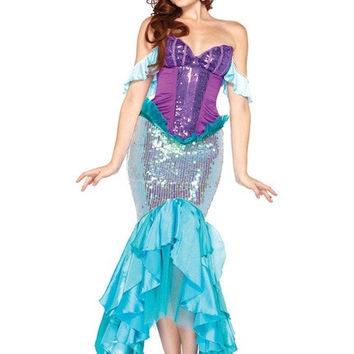 Fancy Adult Disney Deluxe Sequins Princess Mermaid Hallowen Costume Cosplay Blue = 1697606404