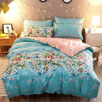Floral Printed Bedding Sets 3/4pcs Duvet Cover Set Flower blue pink queen king bedclothes With Bed-cover Pillowcase Home Textile