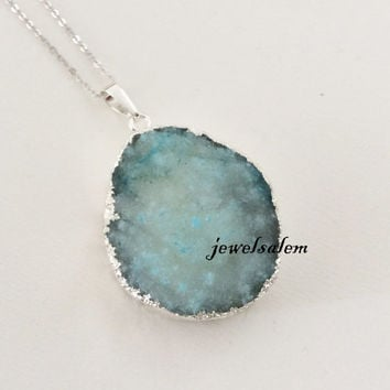 Light Blue Druzy Necklace Silver Pale Aquamarine Geode Pendant Gemstone Crystal Quartz Agate Stone Layered Long Drusy Rustic Statement