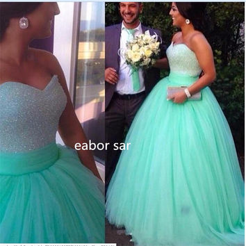 Mint Green  Sequins Beaded Sweetheart Bodice Corset Mint Prom Dress 2017 Sparkly Pageant Dress