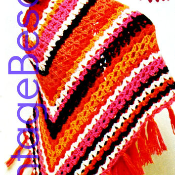 Instant Download Vintage 1970s Giant Granny Square Afghan Crochet PATTERN Afghan Shell Stitch Shawl Fringe PDF Pattern