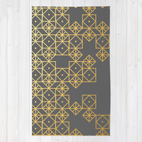 Geometric Gold Rug by Cat Coquillette