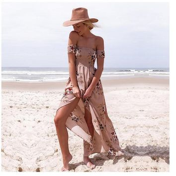 2017 Fashion Bohemian Ladies Wrapped Long Dress Lady Beach Summer Dress Floral Print Vintage Chiffon White Long Dress