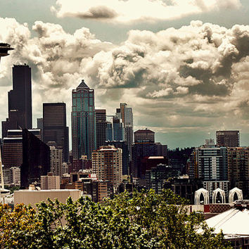 Seattle Skyline from Kerry Park , Seattle Art, Space Needle, Retro Wall Art, Living Room Decor,Fine Art Photography